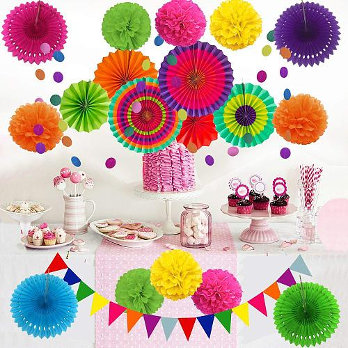 21 Pcs Hanging Paper Fans, Pom Poms Flowers,Garlands Triangle Bunting Flags,Birthday Party Decorations,Wedding Baby Shower Girl