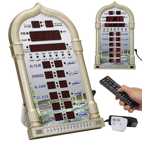 Muslim Ramadan Alarm Clock LED Digital Time Reminder Music Play Calendar Islamic Prayer Wall Clock Eid Mubarak Home Decoration