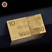 Rare & Nice Netherlands Banknote Engraved 10 Gulden  Gold Banknote Plated Gold For Home Decorate