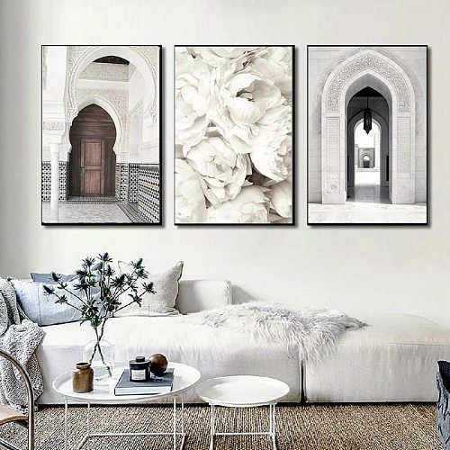 Arab Calligraphy Canvas Poster Morocco Old Door Mosque Islamic Painting Subhanallah Bismillah Print Muslim Wall Art Picture