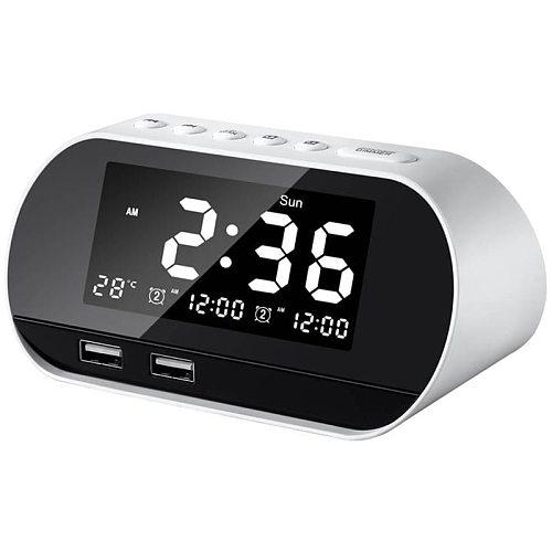 Alarm Clocks For Bedrooms, Led Digital Alarm Clock Radio With Fm Radio, Dual Usb Port For Charger, Dimmer Snooze Sleep Timer , B
