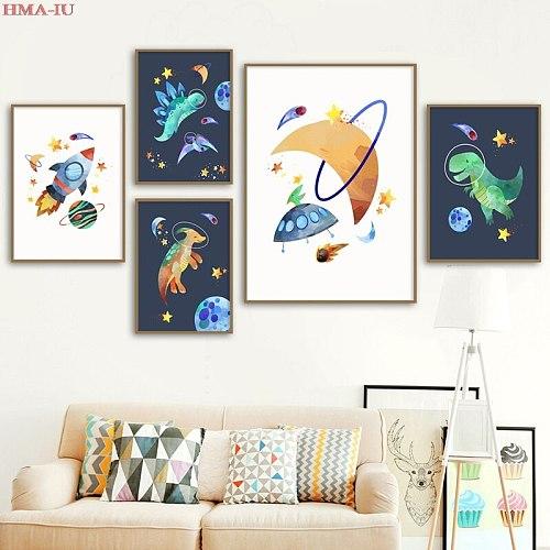 Nordic Cartoon Art Decor Dinosaur Moon Picture Room Decor Wall Canvas Painting