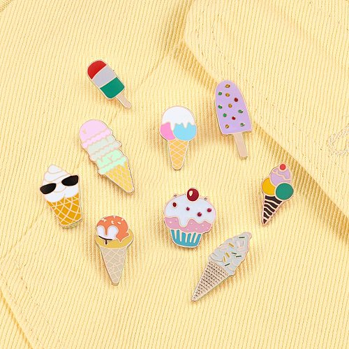 Sweet Cartoon Enamel Pins Cute Ice Cream Lapel Brooches Bright Color Mental Badges Pin Jeans Backpack Brooch Jewelry For Women