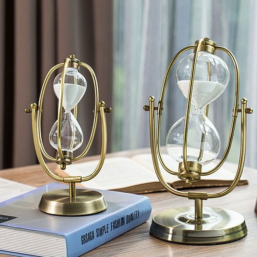 30 /60 Mins Time Hourglass Timer Metal Rotating Sand Clock European Style Living Room Decoration Ornaments Birthday Gift