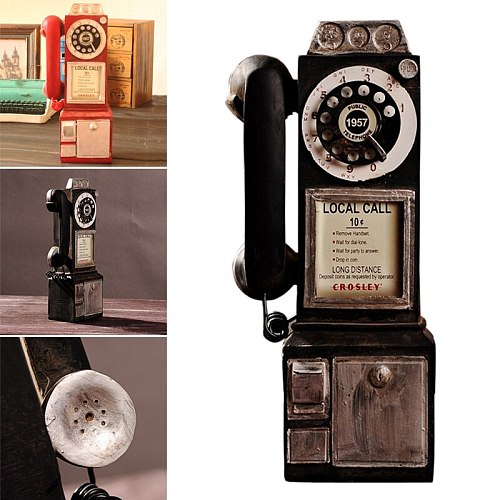 Vintage Rotate Classic Look Dial Pay Phone Model Retro Booth Home Decoration Ornament Phone Booth Call Telephone Figurine