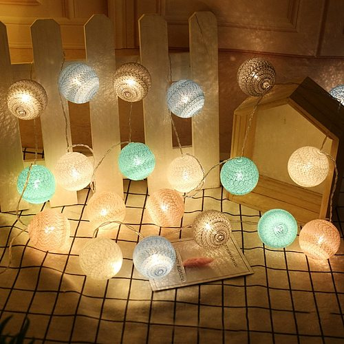 2M 20 LED Cotton Ball Garland Lights String Birthday Party Decor Kids Adult Event Party Christmas Baby Shower Easter Decorations