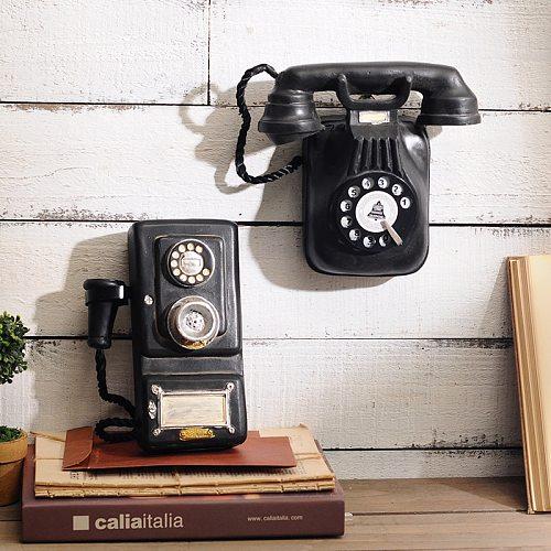 Retro Resin Decorative Telephones Wall-mounted Phone Figurine Antique Telephone Statue Mitation Nostalgia Ornament Vintage Decor