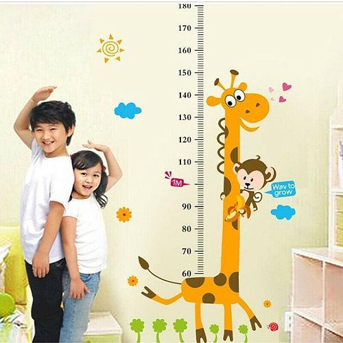 Cartoon Cute Animals Giraffe Monkey Wall Sticker Kids Height Measurement Growth Chart Nursery Kids Rooms Decor Wall Art Paper