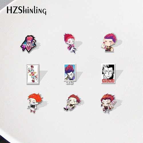 Hunter xHunter Cartoon Anime Hisoka Joker Star Drop Acrylic Lapel Pins Badge Resin Epoxy Jewelry Accessories