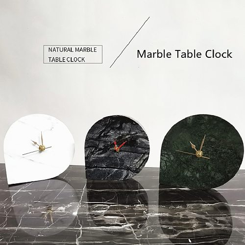 Natural Marble Clock Light Luxury Home Decoration Ornaments Living Room Table Clock Home Hotel Deco Watch