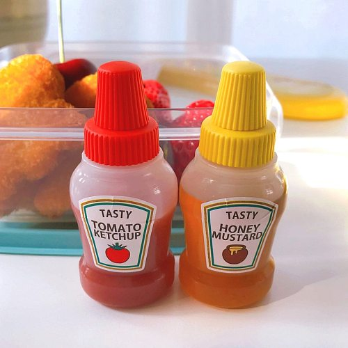 3 pcs Mini Seasoning Sauce Bottle Sauce Bottle Small Containers Lovely Salad Bottles For Bento Lunch Box Kitchen Jar Accessories