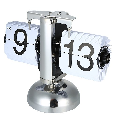 Flip Digital Clock Small Scale Table Clock Retro Flip Clock Stainless Steel Flip Internal Gear Operated Quartz Clock Home Decor