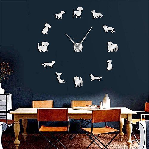 DIY Mirror Effect Dachshund Wall Art Wiener-Dog Puppy Dog Pet Frameless Giant Wall Clock With Sausage Dog Large Clock Wall Watch