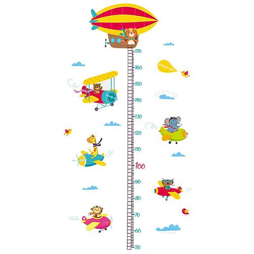 Cartoon Animals Wall Sticker Lion Monkey Bear Height Measure Wall Sticker For Kids Rooms Growth Chart Nursery Room Decor Wall