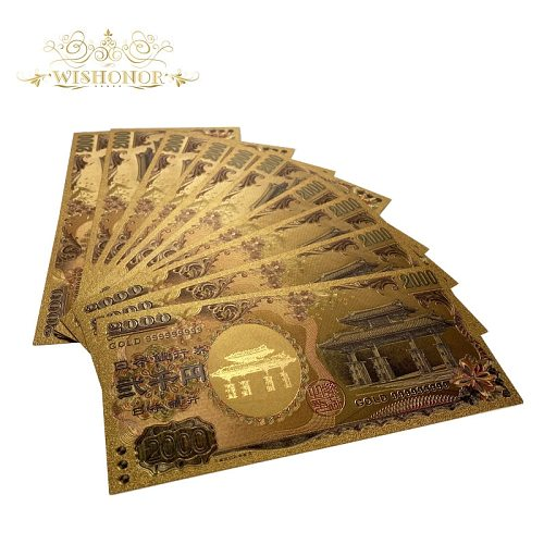 100Pcs/lot New Gold 999 Color Japan Banknote 2,000 Yen Banknotes in 99.9% Gold Plated Fake Paper Money For Collection