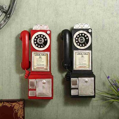 Retro Telephone Ornaments Vintage Telephone Model Wall Hanging Crafts Ornaments Miniature Phones Retro Home Decoration