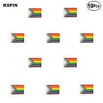 Progress Pride Flag Brooches Lapel Pin Flag badge Brooch Pins Badges 10Pcs a Lot