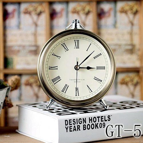 European Bronze Metal Alarm Clock Creative Office Desktop Decoration Mute Table Clock Roman Numerals Desktop Retro Small Clock
