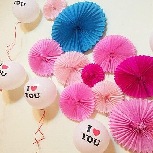 8inch 20cm Tissue Paper Fans Flowers Pompom Balls Round Lantern DIY Craft Hanging Small Flower Wedding Birthday Party Decoration