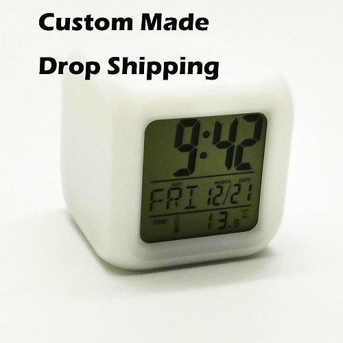 Drop Shipping  Alarm Clock Led Light 7 Color Change Projeksiyon Watch Relogio De Mesa Table Square Digital