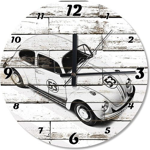 White Vosvos Herbie Wooden Wall Clock 50 cm Diameter Specialty Clock Home Decoration Gift Wall Clock Classy Stylish Clock