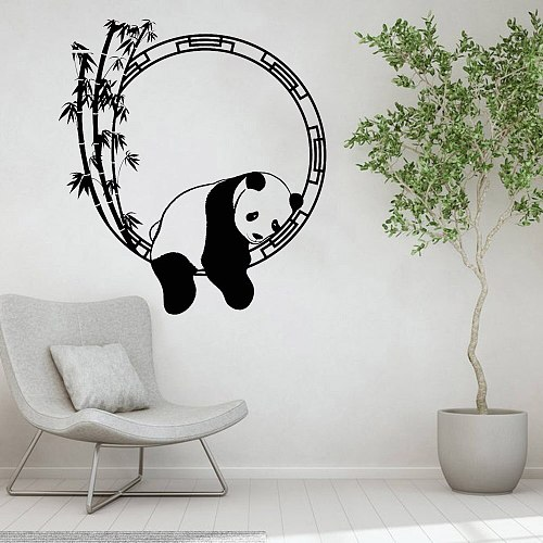 Funny Animal Wall Decal Panda Bamboo Japanese Decor Living Room Vinyl Wall Stickers Vintage Bedroom Decoration Art Murals Y389