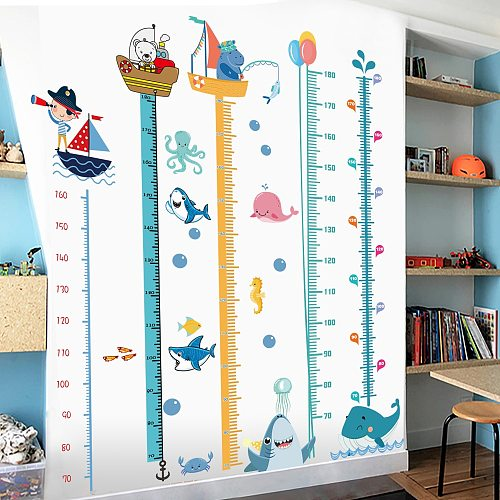 Height Measure Wall Stickers for Baby Rooms Cartoon Animals Wall Decal for Kids Rooms Growth Chart Nursery Room Decor Wall Art