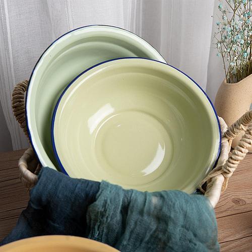 Retro Curling Nostalgia Bowl Durable Vintage Enamel Multifunctional Soup Plate for Kitchen Restaurant Tableware Wholesale