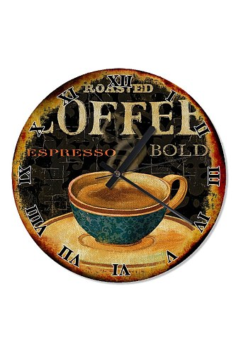 30 Cm Diameter Retro Espresso Coffee Cup Wooden Wall Clock Specialty Clock Home Decoration Gift Wall Clock Classy Stylish Clock
