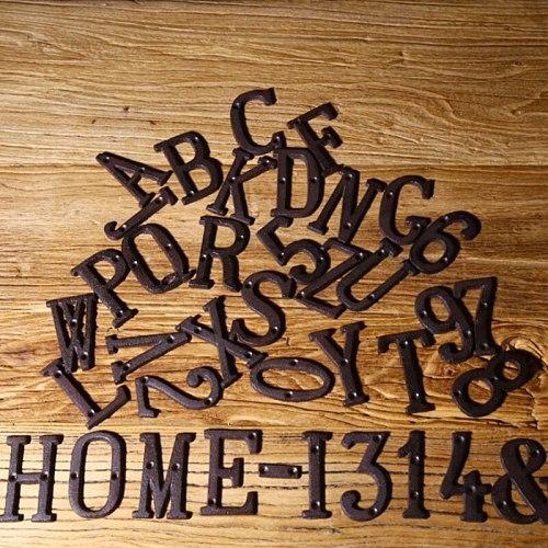 Creative Metal Number Letter Groceries Cast Iron DIY House Number Letter Symbol Manual Wall Decoration For Home Garden Shop Door