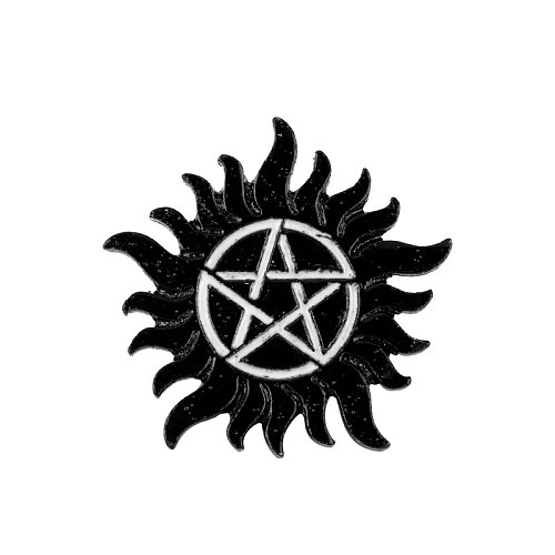 dongsheng TV Jewelry Supernatural Brooch Black Pentagram Enamel Broochs Pin Winchester Star Badge Women Men Lapel Pin Fashion-40