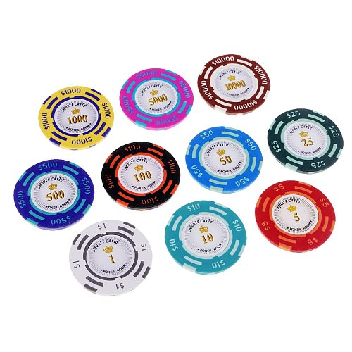 10pcs Poker Chips Toys Chips Coins Non-Currency Poker Casino Chips Mahjong Games Multi-color Chips