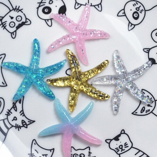 10pcs DIY Resin Adorable Glitter Colorful Starfish Shell For Home Wedding Decor Crafts DIY Hair Bow Center Making Scrapbooking