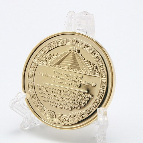Mayan Pyramid Sundial Gold Coin American Gold and Silver Coin Gold-plated Commemorative Coin Collection Gift Challenge Coin