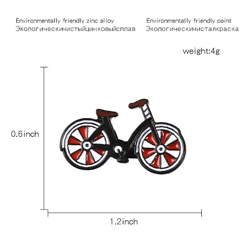 Red Bike Enamel Pin Cartoon bicycle badge brooch Lapel pin Denim Jeans bag Shirt Collar Cool Jewelry Gift for Kids Friends