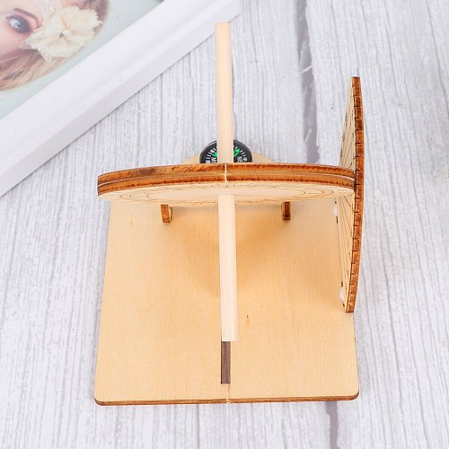 1pc Equatorial Sundial Clock Wooden Scientific Model DIY Teaching Aid for Kids Home Living Room Porch Model Room Soft Decoration