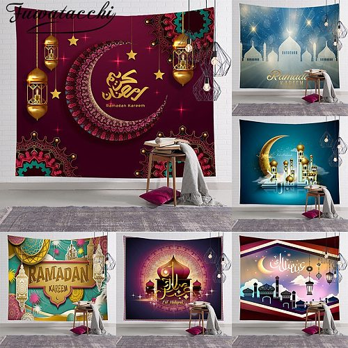 Fuwatacchi Muslim Moon Castle Wall Hanging Tapestry Traveling Camping Oil Painting Boho Blanket Yoga Pad Sleeping Tapestries New