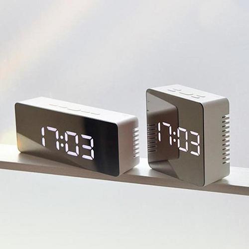 Home Decor Mirror LED Alarm Clock Night Lights Thermometer Digital Wall Clock LED Lamp