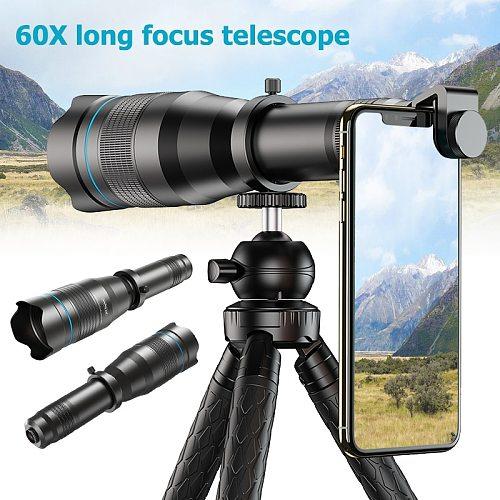HD 60X Phone Camera Lens Super Telephoto Zoom Monocular Telescope  for Beach Travel Outdoor Activities Sports Mobile Telescope