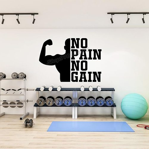 Gym Wall Decal Gym Wall Decor Vinyl Sport Motivation Workout Fitness Motivation Wall Sticker Gym Quote Gym Decor Wallpaper B232
