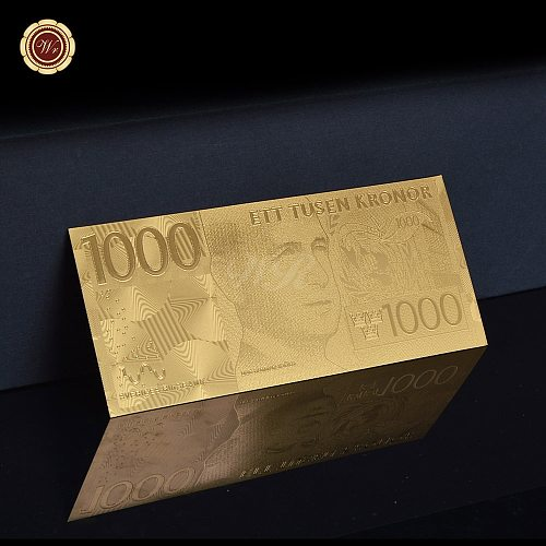 Gold Sweden Banknote 1000 Kronor Collection Home Decoration Gift