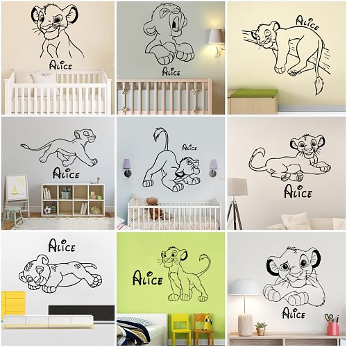 Lion King Custom Name Vinyl Wall Stickers Cartoon Wallpaper Art Decal Home Decor Baby Room Bedroom Mural Gift