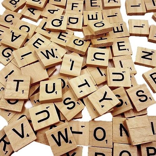 100Pcs Wood Scrabble Tiles Letter Alphabet Scrabbles Number Craft Wooden English Words Digital Puzzle Decoration HFD889