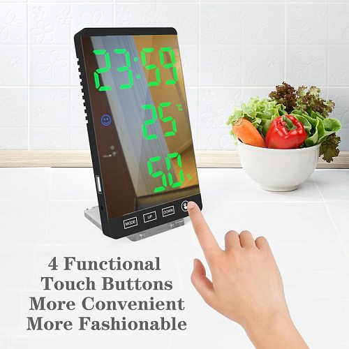 LED Mirror Alarm Clock With Dimmer Temperature Function For Bedroom Office Travel Digital Home Decoration Clock Christmas Gift