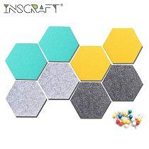 8pcs Hexagon Felt Pin Board with Push Pins Self Adhesive Memo Notice Board Wall Office Home Decorative Board