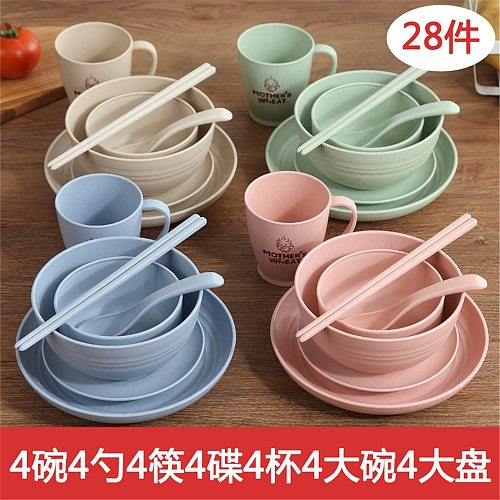 Wheat Straw Children's Dinner Plate Set Grid Student Breakfast Plate Home Bowl Spoon Cutlery Six-piece Suit Square Dish Meal