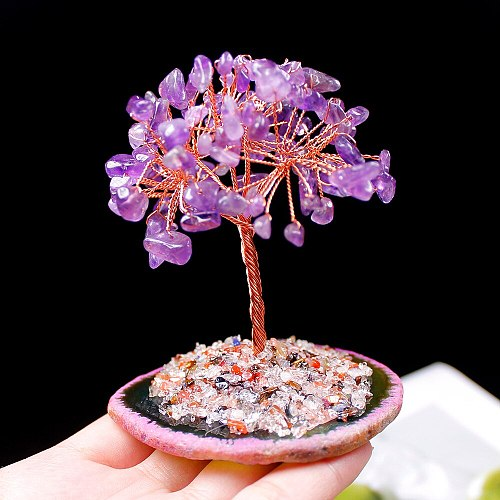 Natural Crystal Tree Amethyst Rose Quartz Seven chakra Therapy Stone  Lucky Tree Decoration Agate Slices Stone Mineral Ornaments