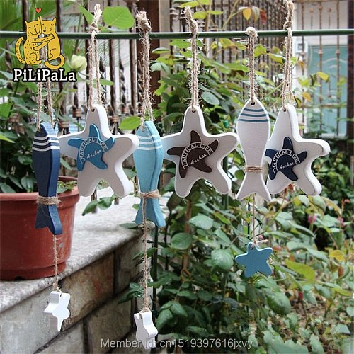 6pc Hand Made Wooden Starfish Nautical beach Decor Hang Small Adorn Crafts Wood Decorated Marine Pendant Xmas Home sea shells