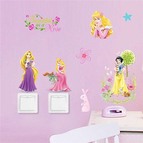 Cartoon Lovele fairy Princess wall stickers for children kids bedroom wall decal art mural girls room switch decor diy poster