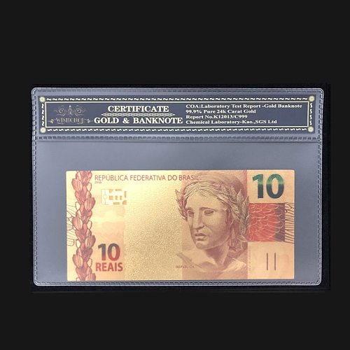 Best Products For Brazil Banknotes 10 Real Dollars Banknote With COA Frame For Collections Currency Crafts